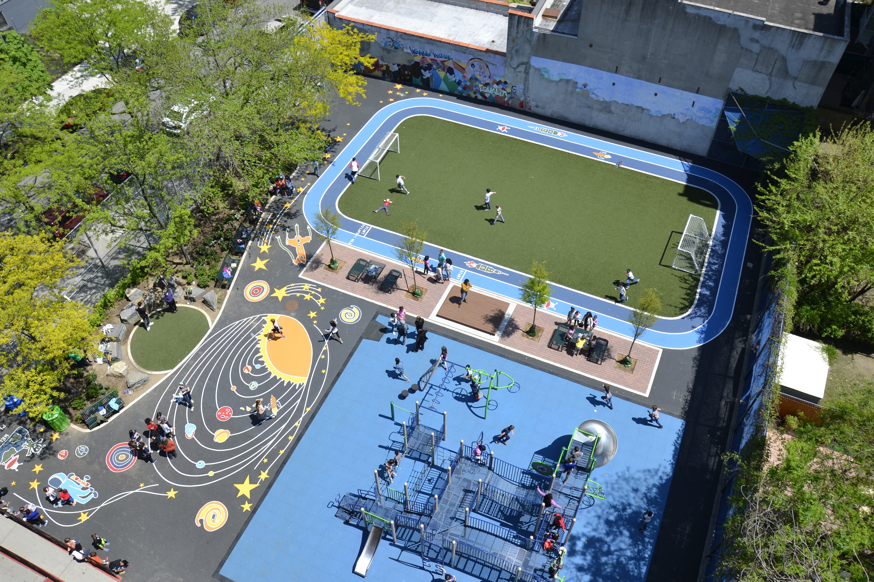 aerial view of the cws playground, track, and field