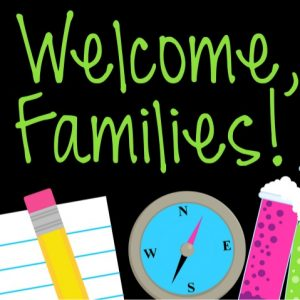 pencil clock eraser and text that reads welcome families!